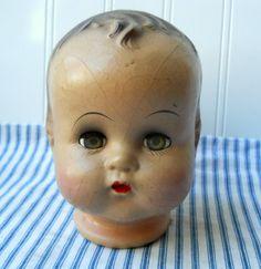 Vintage doll head composition doll head Sweetness by hopeandjoyhome