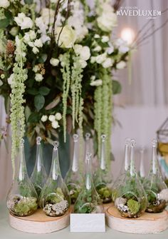 Mini Hanging Terrariums as favors - how cool! Style File: Natural Beauty   WedLuxe Magazine