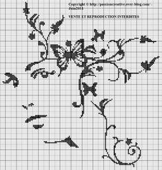 Grille gratuite point de croix : Visage femme et papillons monochrome
