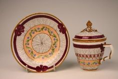 Meissen lidded cup and saucer from the 'Marcolini' period