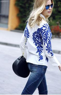 Embroidered Button Down Top