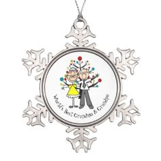 Pretty snowflake shaped ornament features a stick figure elderly couple ie grandma and grandpa with text that reads World's Best Grandma & Grandpa! This lovely snowflake grandma and grandpa ornament makes a wonderful Christmas holiday gift to the grandparents you think the world of! #holiday #xmas #customized #family #christmas #grandparents #grandma #grandpa #grandma #and #grandpa #worlds #best #keepsake #personalized