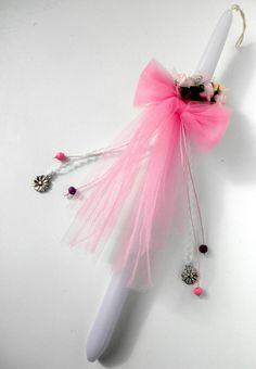 Greek Easter Candle. Girl Pink Flowers by FourSeasonsCreations