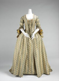 Robe à la Française Date: 1760–70 Culture: French Medium: silk Dimensions: Length at CB (a): 59 in. (149.9 cm) Credit Line: Brooklyn Museum Costume Collection at The Metropolitan Museum of Art, Gift of the Brooklyn Museum, 2009; H. Randolph Lever Fund, 1967