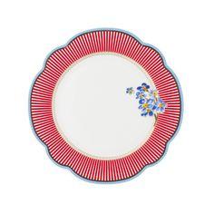 """Dessert plate, """"Happy"""". Porcelain by Lisbeth Dahl Copenhagen. Spring/summer 2014. #LisbethDahlCph #porcelain #dessert #plate #red #blue #flower"""