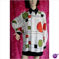Vintage 1980 Designer Blouse Shirt Tunic Top Jaques Vert Rare