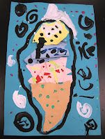 make ice cream cones using only paper, glue, markers/paint. no scissors.