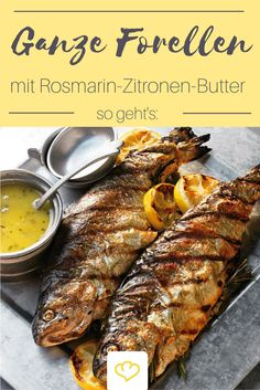 Das Rezept für ganze Forellen in Rosmarin-Zitronen-Butter und viele weitere kö… The recipe for whole trout in rosemary and lemon butter and many other delicious barbecue recipes can be found in the Springlane magazine. Shrimp Recipes, Egg Recipes, Salmon Recipes, Fish Recipes, Healthy Recipes, Dinner Recipes, Barbecue Recipes, Grilling Recipes, Grilled Trout