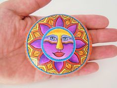 Colorful Sun Hand painted On A Round Sea Stone ! Is painted with high quality Acrylic paints and finished with glossy varnish protection Sun Painting, Rock Painting, Hand Painted Rocks, Painted Stones, Art Pierre, Acrylic Colors, Stone Art, Rock Art, Les Oeuvres