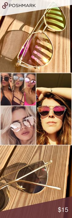 """Cat Eye Sunglasses NEW Trendy cat eye mirror sunglasses with a gold frame in a purple/gold """"chameleon"""" color! Accessories Sunglasses"""