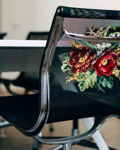 Embroidered Eames Aluminum Group task chair