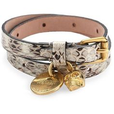 Alexander McQueen Snakeskin-Embossed Leather Skull Wrap Bracelet ($255) ❤ liked on Polyvore featuring jewelry, bracelets, apparel & accessories, skull charms, skull bangle, charm wrap bracelet, skull wrap bracelet e leather charm