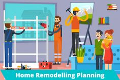 Woodworking School Construction Workers Flat Composition Poster - Urban home renovation flat composition poster with carpenters construction workers and apartment owners with pet vector illustration. Editable EPS and Render in JPG format Woodworking School, Woodworking Projects Plans, Teds Woodworking, Family Relations, How Many Kids, Family Planning, Construction Worker, Home Renovation, Innovation Design