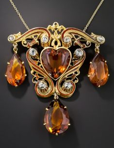 da5a5f38041fb A late-Victorian gold, amber, citrine and diamond pendant, turn of the