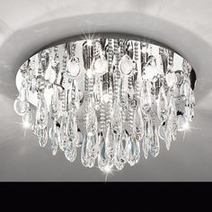 93413 Flush Ceiling Lights, Interior Lighting, Chrome Finish, Polished Chrome, Living Spaces, Chandelier, Bulb, Crystals, Elegant
