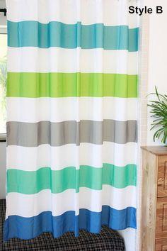 Nautical Striped Shower Curtain Blue Green Yellow Shower Curtain Coastal  Bathroom Ocean Decor Preppy Stripe Curtain Home Decor Gifts | Blue Green,  ...