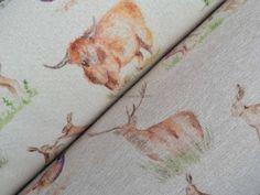 Prestige Farmland Animals Print Woodland Elgin Range Wool Effect Heavy Upholstery Curtains Fabric  - Per Metre