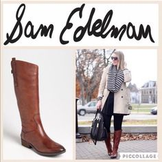e61be036d SAM EDELMAN Penny Riding Boots Tall Leather Military Whiskey Brown Boot 8 M  New  SamEdelman