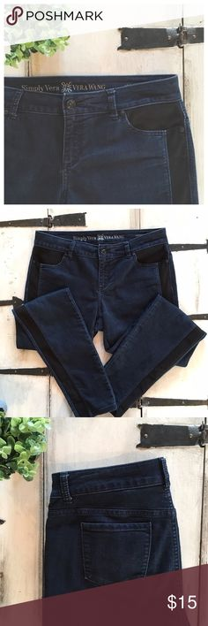 {Vera Wang} Side Stripe Skinny Jeans These jeans are super stretchy, sophisticated, and unique!  They feature a black stripe along the length of both outside legs and coordinating faux front pockets.  They're a rich deep blue color.  EUC!  82% Cotton, 16% Polyester, 2% Spandex. Simply Vera Vera Wang Jeans Skinny