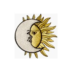 Crescent Moon over Sun- Embroidered Iron On or Sew On Patch... (48 DKK) ❤ liked on Polyvore featuring fillers, patches, extras and pins