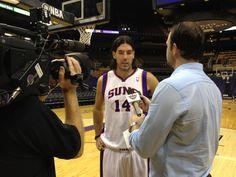 Luis Scola talks to the media. #PhoenixSuns