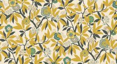 Primavera (DVIWPR101) - Sanderson Wallpapers - Based on a 1926 document, with a rich  profusion of rhododendron leaves, fruit and flowers create this classic design. Available in 5 colourways, shown in the chaffinch colourway. Please request a sample for true colour match. Wide width.