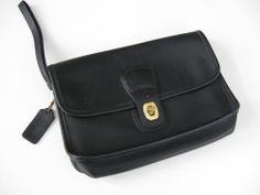 Vintage Coach Black Leather Clutch Wrist Strap Purse Handbag #Coach #Clutch