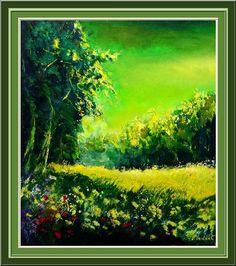 Artwork >> Pol Ledent >> pre #artwork, #masterpiece, #painting, #contemporary, #art, #nature, #trees, #green, #field