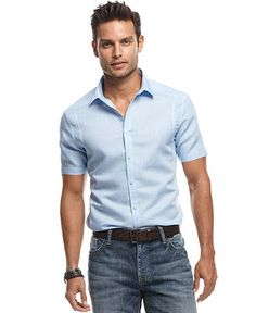 INC International Concepts Shirt, Short Sleeve Belaire Shirt - Macy's