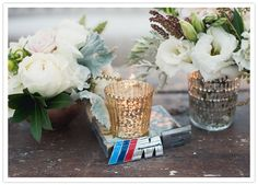love the mercury glass-- candlelight and car memorabilia accessories