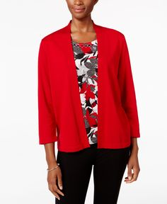 Alfred Dunner Floral-Inset Layered-Look Sweater
