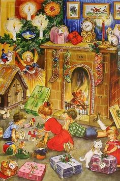 old fashioned Christmas scene advent calendar Vintage Christmas Images, Christmas Scenes, Old Fashioned Christmas, Magical Christmas, Merry Little Christmas, Christmas Past, Retro Christmas, Vintage Holiday, Christmas Pictures