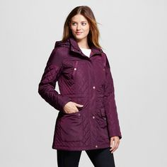 Women's Quilted Anorak Atlantic Burgundy Xxl - Merona