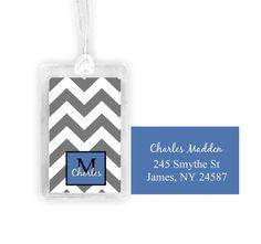 chevron stripe luggage tag personalized by NoteWorthyStationery Personalized Luggage Tags, Custom Luggage Tags, Chevron, Monogram, Creative, Handmade, Stuff To Buy, Etsy, Accessories