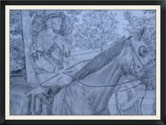 This a picture of famed jockey Javier Castellano in the paddock at Saratoga Race Course, headed to the starting gate. Pencil on paper, 18x24, matted and framed original. FOR SALE. - artist Ken WIlson