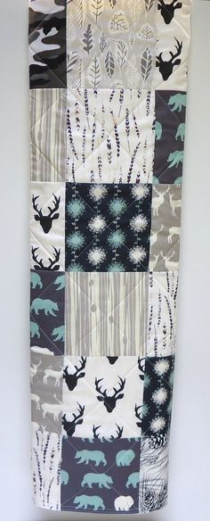Baby Quilt-Rustic-Modern-Woodland Baby Bedding-Buck-Antlers-Elk-Bear Hike-Birch Fabric-Art Gallery Fabric-Black-Charcoal-Gray Camo Baby Blanket