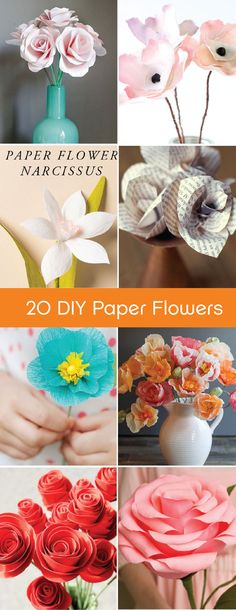 Bring the bright colors of fresh flowers indoors with these 20 Amazing Tutorials for DIY Paper Flowers. Decorate your home with these unique crafts.