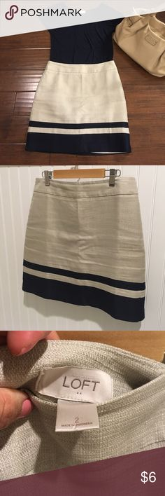"""ANN TAYLOR SKIRT SET Skirt set. Linen look.  Love this outfit but doesn't fit. It's a size 2 skirt with an XS top.  Skirt has some pulling on the sides & in the back. See last couple of pics.  Can be taken in for someone size 0. It's not black but a dark blue.   Length: 18"""" Waist 15"""" across  DON'T FORGET TO BUNDLE 😊  Offers are welcomed. I negotiate. Ask any questions before purchasing. Ann Taylor Skirts"""