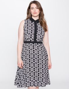 Printed Fit and Flare Dress | Women's Plus Size Dresses | ELOQUII