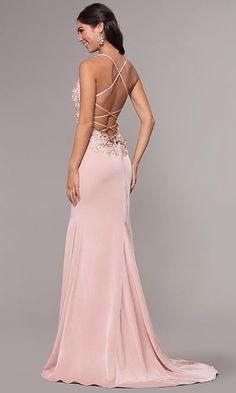 Shop v-neck long embroidered-bodice prom dresses with corsets at PromGirl. Formal dusty rose pink evening dresses for prom and fitted satin prom dresses with embroidery, trains, and corset backs. #fitness #fitnessplanner Fitted Prom Dresses, V Neck Prom Dresses, Elegant Dresses, Girls Dresses, Pink Evening Dress, Evening Dresses, Dress Vestidos, Prom Dress Stores, Pink Gowns