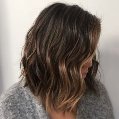 """Baby lights for this natural brunette. Going lighter with baby lights means it's going to turn into an ombré, minimal upkeep, just a toner…"""