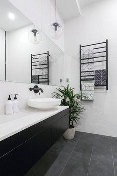 The block 2016 - week 3 main bathroom reveals new house ideas inside bathro Modern Bathroom Design, Bathroom Floor Tiles, Black Bathroom, Gray And White Bathroom, Grey Bathrooms, Black Floor Tiles, Bathroom Interior Design, Bathroom Renovations, Bathroom Design