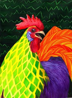 Cock a Doodle Dude II Painting by Catherine G McElroy - Cock a Doodle Dude II Fine Art Prints and Posters for Sale