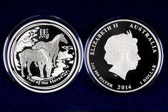 2014 marks the Year of the Horse according to the Chinese Lunar Calendar. The Perth Mint continues its beautifully designed Lunar Series with this one ounce proof silver Year of the Horse Lunar Series II. The Design features two wild horses grazing by a stream. This stunning design will only be available for 2014 catch one before they're gone.