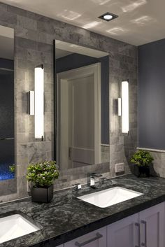 ULTIMATE GUIDE - Bathroom lighting ideas for big and small bathroom. How to put lighting over a mirror, vanity lighting ideas, and so on. Bathroom Mirror Design, Modern Master Bathroom, Modern Bathroom Design, Bathroom Interior Design, Small Bathroom, Bathroom Ideas, Bathroom Vanities, Bathroom Cabinets, Bathroom Designs