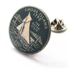 Rhode Island Tie Tack Lapel Pin Suit Flag State Coin Jewelry