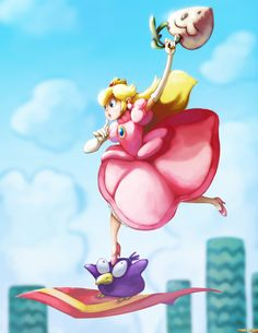 Princess Peach and the Pidget from Super Mario Bros. Mario Bros., Mario And Luigi, Super Mario Brothers, Super Mario Bros, Super Peach, Mario And Princess Peach, Princess Daisy, Princess Toadstool, Nintendo Princess