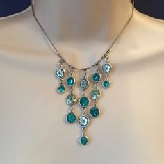 NWT Pilgrim Jewel Necklace Stunning jewels and signature pilgrim flowers on a white gold tone chain. No trades. Generous discount with bundle. Pilgrim Jewelry Necklaces