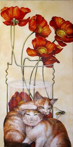 Poppies and cats, Chelin Sanjuan