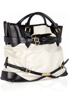 Burberry Shoes & Accessories|Leather-trimmed cotton tote|NET-A-PORTER.COM